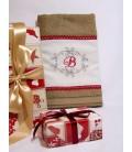 Cadou de Craciun prosop personalizat si decorat culoare maro