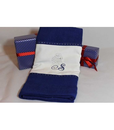 Cadou de Craciun prosop personalizat si decorat culoare albastra
