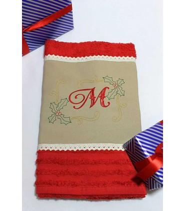Cadou de Craciun prosop personalizat si decorat culoare rosie
