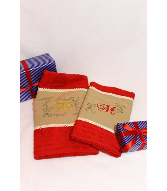 Set prosoape personalizate si decorate culoare rosie