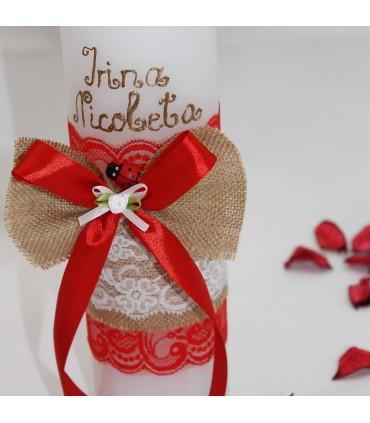 Lumanare botez personalizata Irina Nicoleta