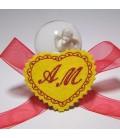 Marturie botez personalizata inimioara cu monograme AM