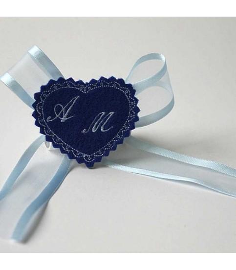Marturie botez personalizata inimioara albastra cu monograme AM