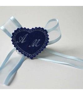 More about Marturie botez personalizata inimioara albastra cu monograme AM
