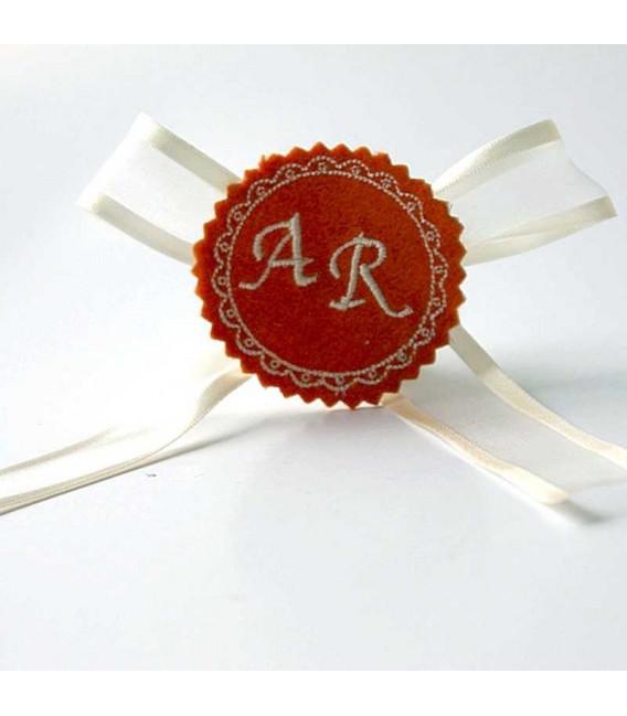 Marturie botez personalizata cu monograme AR