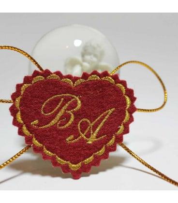 Marturie botez personalizata cu monograme BA