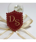 Marturie botez personalizata blazon cu monograme DS