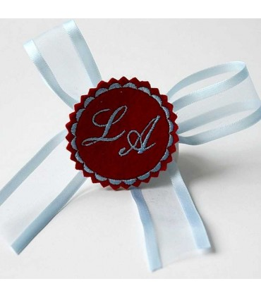 Marturie botez personalizata cu monograme LA