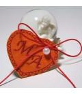 Marturie botez personalizata inima cu monograme MA