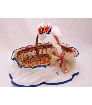 Cosulet botez traditional decorat culoare albastra