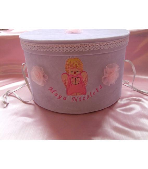 Cutie botez fetite imbracata in catifea