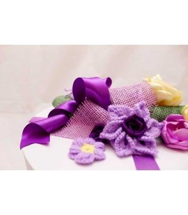 Cutie botez rotunda Ingeras si Crin decoratiuni crosetate
