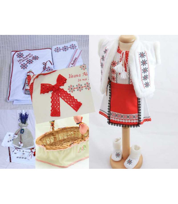 Trusouri botez traditionale - Trusou botez complet, traditional, fetite, broderie stelute