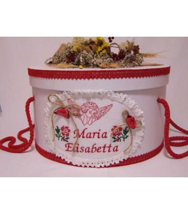 Cutie rotunda botez personalizata ingeras traditional