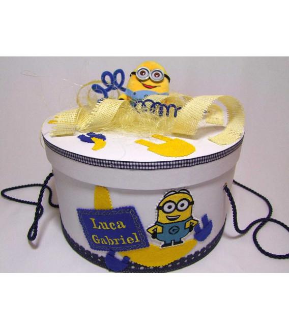 Cutie rotunda botez personalizata Minions