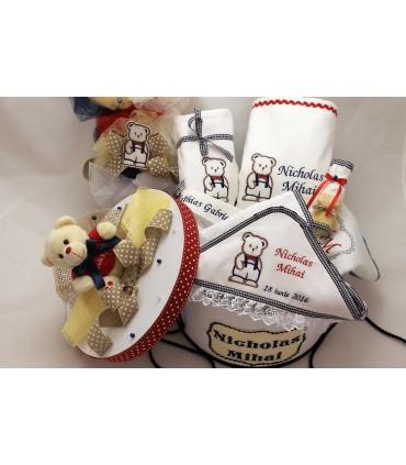 Trusou botez personalizat complet ursulet cu papion