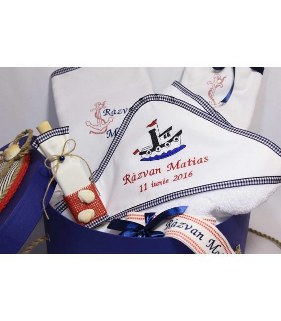 Trusou botez personalizat si cutie botez cu tema marina  - Trusouri  Botez Complete
