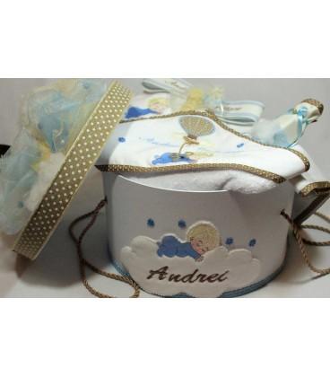 Trusou botez personalizat si cutie botez bebelus si balon
