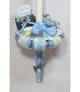 More about Lumanare de botez albastra papion cu buline albe