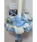 Lumanare de botez albastra papion cu buline albe