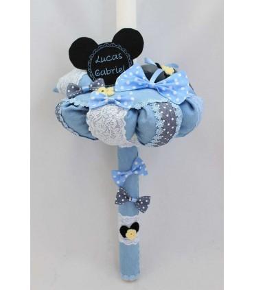 Lumanare botez baieti Mickey Mouse si papion cu buline albe producator Atelierele Cris  349,00Lei