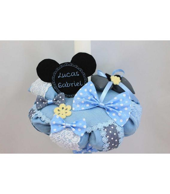 Lumanare botez baieti Mickey Mouse si papion cu buline albe