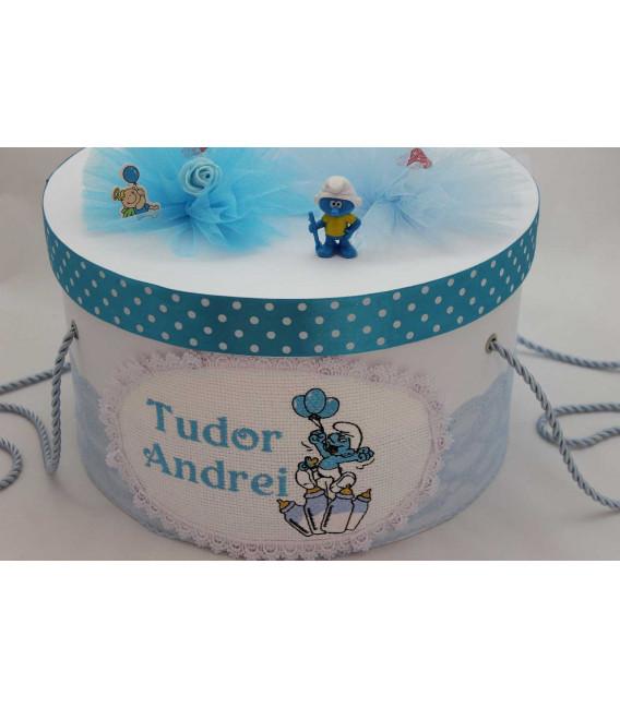 Cutie trusou botez personalizata Strumfi
