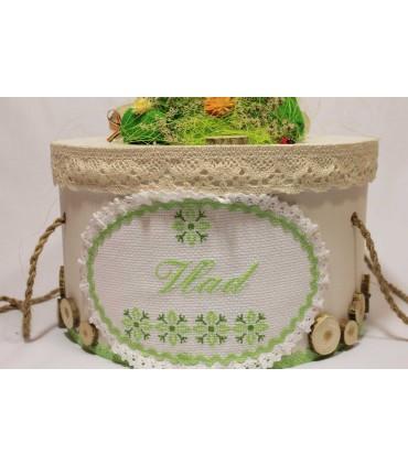 Cutie botez personalizata traditionala broderie stelute culoarea verde