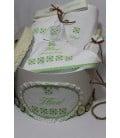Trusou botez personalizat si cutie botez traditionale broderie stelute