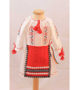 More about Costum botez traditional fetite broderie floare rosu si negru
