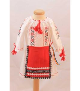 Costum botez traditional fetite broderie floare rosu si negru