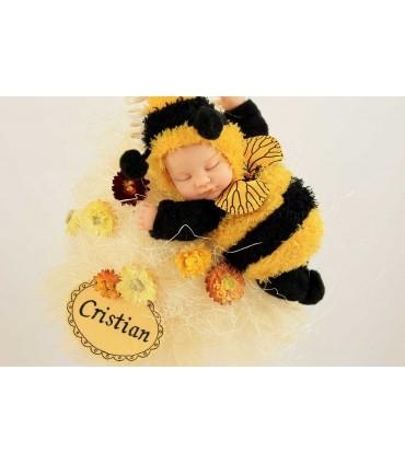 Lumanare botez personalizata cu jucarie albinuta Zum Zum