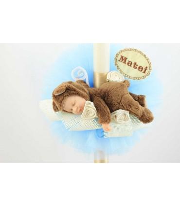 Lumanare botez personalizata cu jucarie bebe ursulet