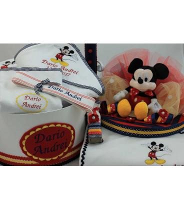 Trusou botez Mickey Mouse personalizat complet baiat culoare bleomarine