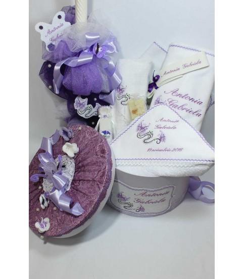Trusou botez personalizat complet fluturasi fetite culoare lila