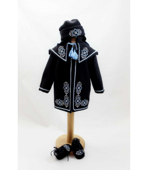 Costum popular botez - set palton caciulita si botine