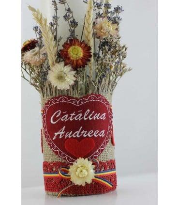 Lumanare botez personalizata scurta Catalina