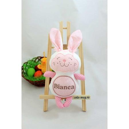 Jucarii personalizate bebelusi - Iepuras handmade brodat Bianca