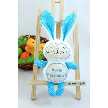 Jucarii personalizate bebelusi - Cadou iepuras handmade personalizat cu numele copilasului