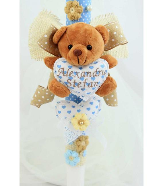 Lumanare botez baiat personalizata Sweat Bear