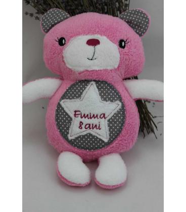 Jucarii personalizate bebelusi - Jucarie personalizata ursulet brodat handmade Emma