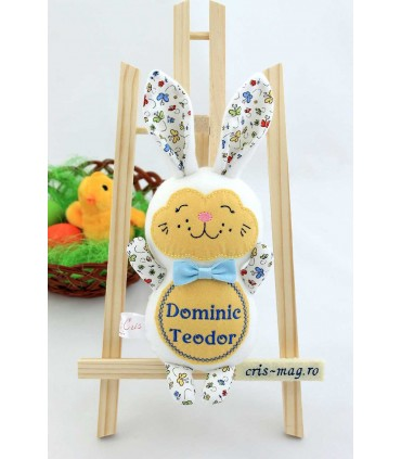Jucarii personalizate bebelusi - Jucarie personalizata iepuras de paste confectionat - Dominic