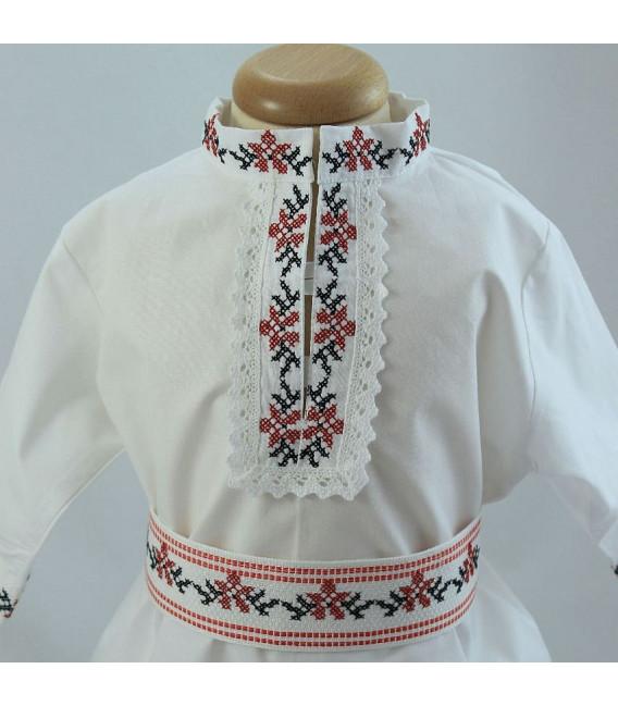 Costum popular botez baieti de vara broderie culori rosu-negru