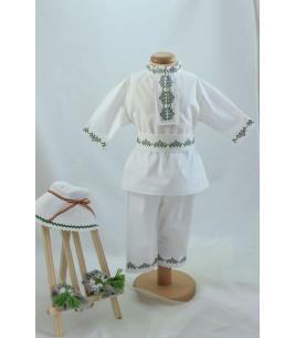 More about Costum popular botez baieti de vara broderie culori gri verde