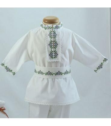 Costum popular botez baieti de vara broderie culori gri verde