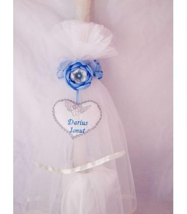 Lumanare botez personalizata flori albastre