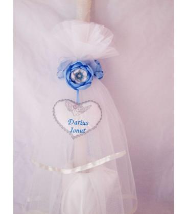 Lumanare botez personalizata - flori albastre