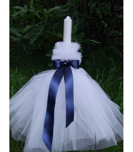 Lumanare botez personalizata funda albastra