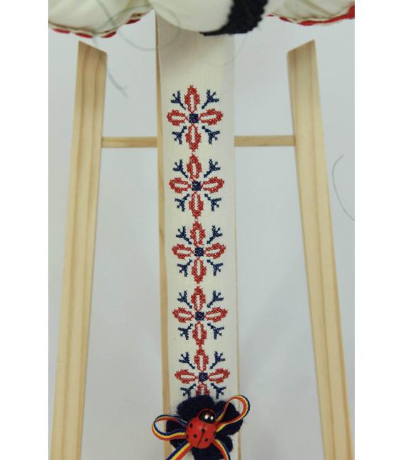 Lumanare botez traditionala broderie stelute bleumarin