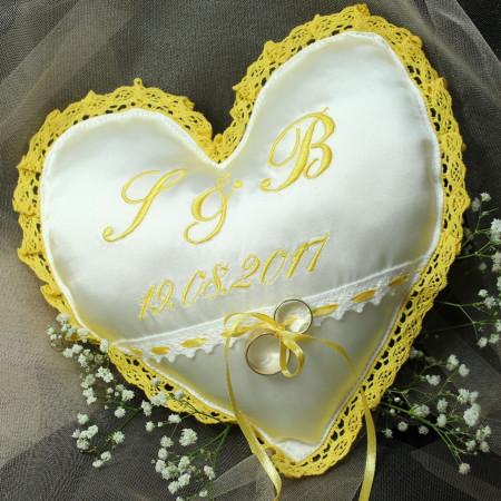 Perna verighete personalizata inimioara culoare galben auriu